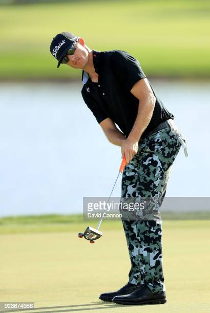 Morgan Hoffmann of the United States hits a putt on the 16th hole during the third round of the 2018 Honda Classic on The Champions Course at PGA...