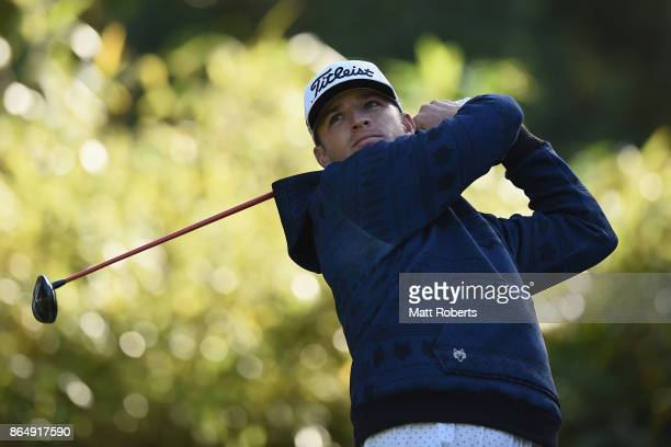 Morgan Hoffmann of the United States hits his tee shot on the 5th hole during the final round of the CJ Cup at Nine Bridges on October 22 2017 in...