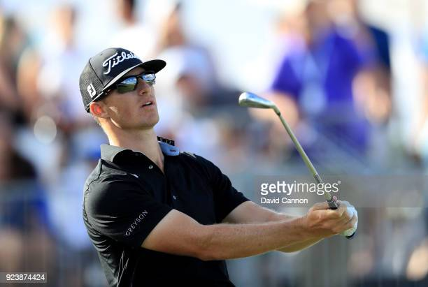 Morgan Hoffmann of the United States plays his tee shot on the 17th hole during the third round of the 2018 Honda Classic on The Champions Course at...