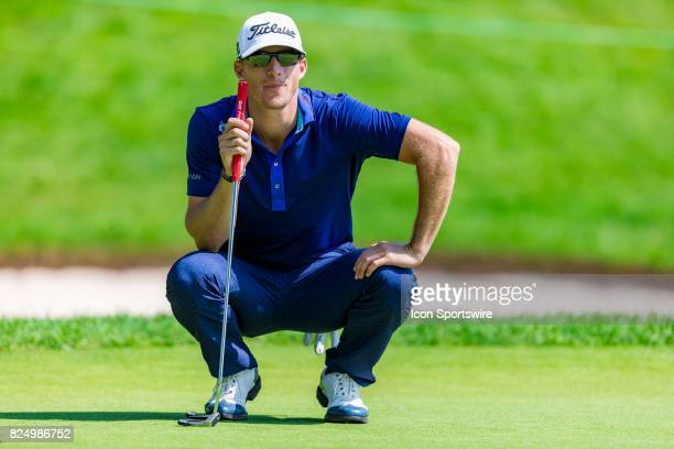Morgan Hoffmann surveys the green before making a putt on the 9th hole during final round action of the RBC Canadian Open on July 30 at Glen Abbey...