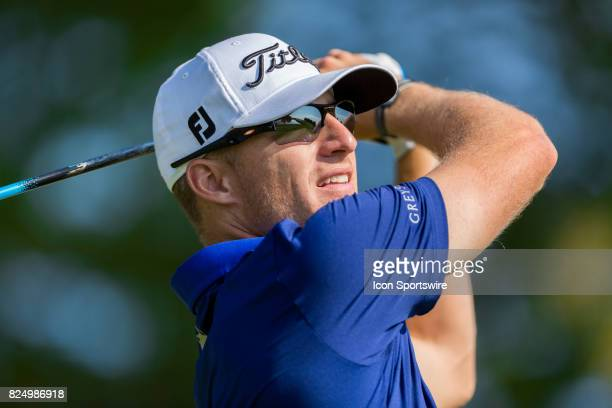 Morgan Hoffmann tees off on the 1st hole during final round action of the RBC Canadian Open on July 30 at Glen Abbey Golf Club in Oakville ON Canada
