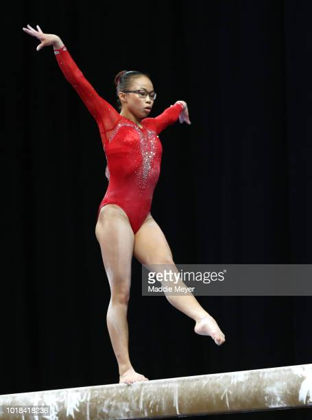 Morgan Hurd competes on the balance beam during Day 2 of the US Gymnastics Championships 2018 at TD Garden on August 17 2018 in Boston Massachusetts
