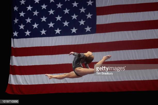 Morgan Hurd competes on the balance beam during day four of the US Gymnastics Championships 2018 at TD Garden on August 19 2018 in Boston...