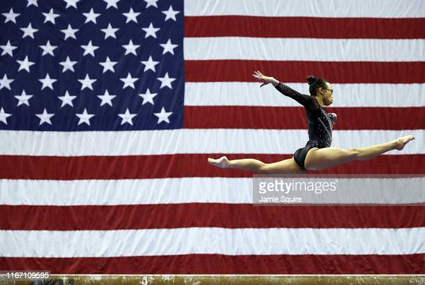 Morgan Hurd competes on the balance beam during the Senior Women's competition of the 2019 US Gymnastics Championships at the Sprint Center on August...