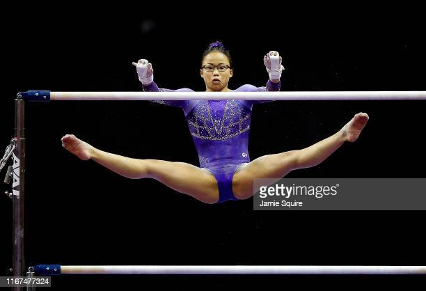 Morgan Hurd competes on the uneven bars during the Women's Senior competition of the 2019 US Gymnastics Championships at the Sprint Center on August...