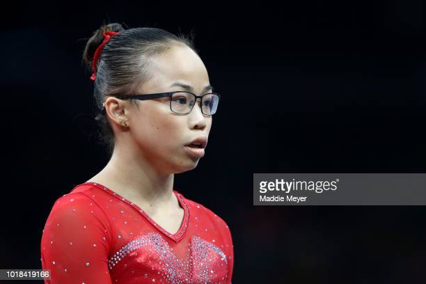 Morgan Hurd looks during Day 2 of the US Gymnastics Championships 2018 at TD Garden on August 17 2018 in Boston Massachusetts