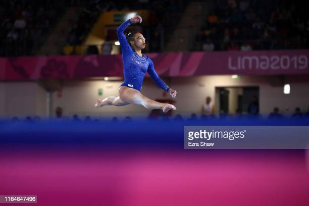 Morgan Hurd of the United States competes in the floor exercise during women's gymnastics qualification and team final at at Villa El Salvador Sports...