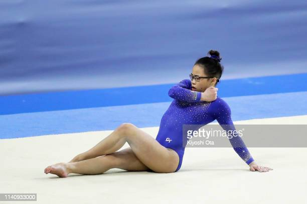 Morgan Hurd of the United States competes in the Women's Floor Exercises during the FIG Artistic Gymnastics AllAround World Cup Tokyo at Musashino...