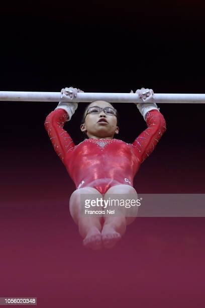 Morgan Hurd of the United States competes in Uneven Bars during Women's AllAround Final during Day Eight of 2018 FIG Artistic Gymnastics...