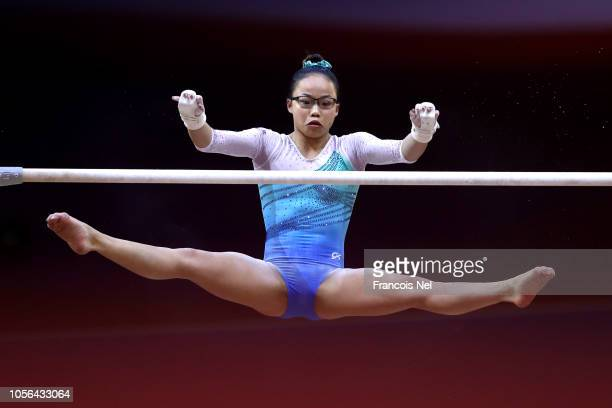 Morgan Hurd of The United States competes on the uneaven bars during day nine of the 2018 FIG Artistic Gymnastics Championships at Aspire Dome on...
