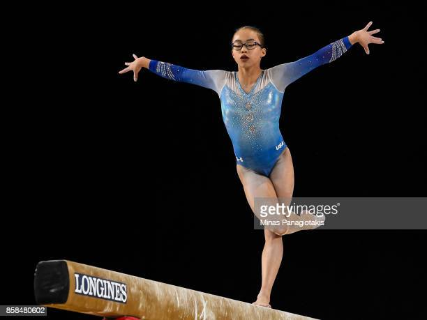 Morgan Hurd of The United States of America competes on the balance beam during the women's individual allaround final of the Artistic Gymnastics...
