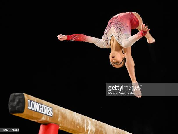 Morgan Hurd of The United States of America competes on the balance beam during the individual apparatus finals of the Artistic Gymnastics World...