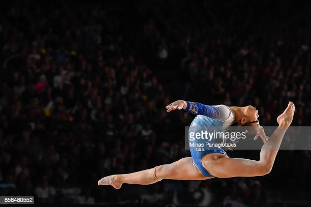 Morgan Hurd of The United States of America competes on the floor exercise during the women's individual allaround final of the Artistic Gymnastics...