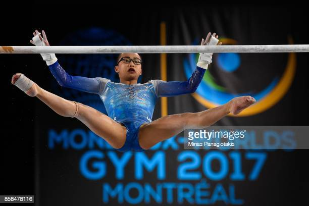 Morgan Hurd of The United States of America competes on the uneven bars during the women's individual allaround final of the Artistic Gymnastics...