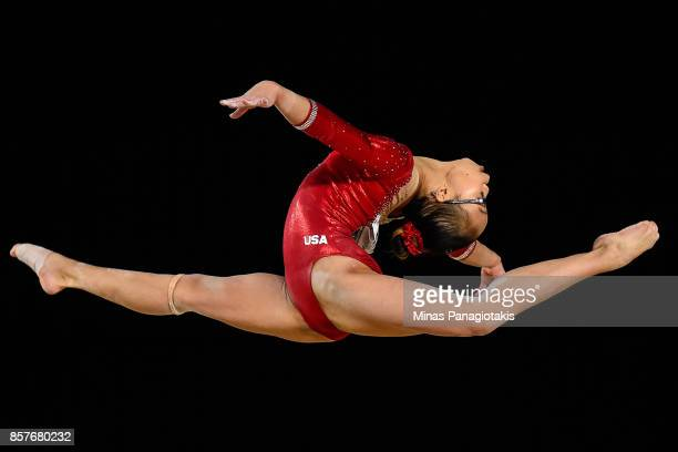 Morgan Hurd of the US competes in the floor exercise during the qualification round of the Artistic Gymnastics World Championships on October 4 2017...