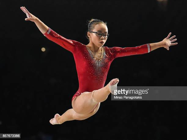 Morgan Hurd of the US competes on the balance beam during the qualification round of the Artistic Gymnastics World Championships on October 4 2017 at...