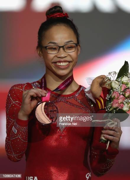 Morgan Hurd of the US poses for a photograph with her bronze medal after the Women's AllRound Final during day eight of the 2018 FIG Artistic...