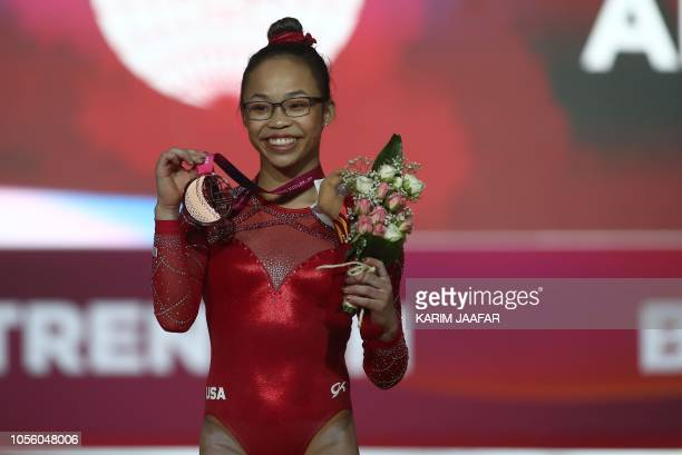 Morgan Hurd of the US poses for a photograph with her bronze medal after the women's allaround final of the 2018 FIG Artistic Gymnastics...