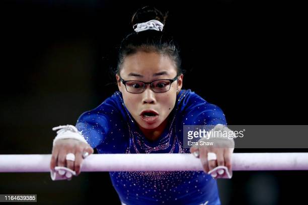 Morgan Hurd of United States competes in uneven bars during women's gymnastics qualification and team final at at Villa El Salvador Sports Center on...