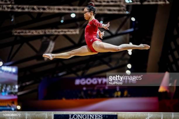 Morgan Hurd of United States during Balancing Beam Individual Final for Women at the Aspire Dome in Doha Qatar Artistic FIG Gymnastics World...