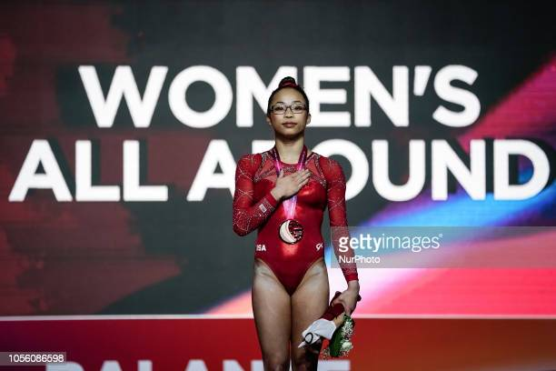 Morgan Hurd of United States during Floor Individual Final for Women at the Aspire Dome in Doha Qatar Artistic FIG Gymnastics World Championships on...