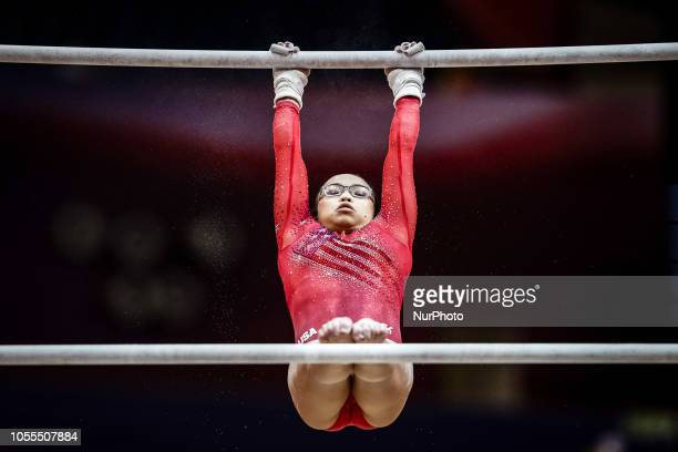Morgan Hurd of United States during Uneven Bar Team final for Women at the Aspire Dome in Doha Qatar Artistic FIG Gymnastics World Championships on...