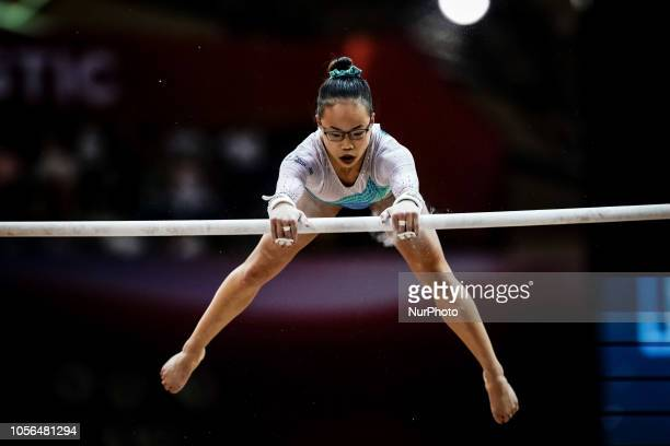 Morgan Hurd of United States during Uneven Bars for Women at the Aspire Dome in Doha Qatar Artistic FIG Gymnastics World Championships on 2 of...