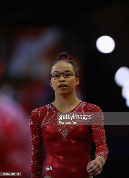Morgan Hurd of USA looks on during the Women's AllRound Final during day eight of the 2018 FIG Artistic Gymnastics Championships at Aspire Dome on...