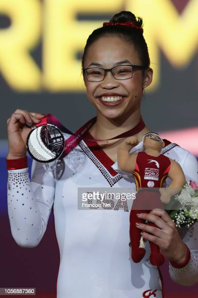 Morgan Hurd of USA with the Silver medal poses after the Womens Floor Final during day ten of the 2018 FIG Artistic Gymnastics Championships at...