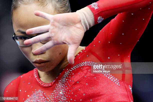 Morgan Hurd performs her floor exercise during Day 2 of the US Gymnastics Championships 2018 at TD Garden on August 17 2018 in Boston Massachusetts
