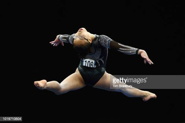 Morgan Hurd performs her floor exercise during day four of the US Gymnastics Championships 2018 at TD Garden on August 19 2018 in Boston Massachusetts
