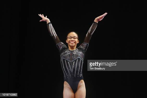 Morgan Hurd reacts after competing on the balance beam during day four of the US Gymnastics Championships 2018 at TD Garden on August 19 2018 in...