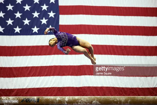 Morgan Hurd reacts competes on the balance beam during the Women's Senior competition of the 2019 US Gymnastics Championships at the Sprint Center on...