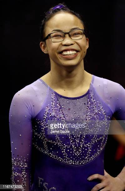 Morgan Hurd reacts during the Women's Senior competition of the 2019 US Gymnastics Championships at the Sprint Center on August 11 2019 in Kansas...