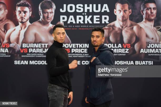 Morgan Jones and Mose Auimatagi at the undercard press conference ahead of the Anthony Joshua and Joseph Parker fight on March 29 2018 in Cardiff...