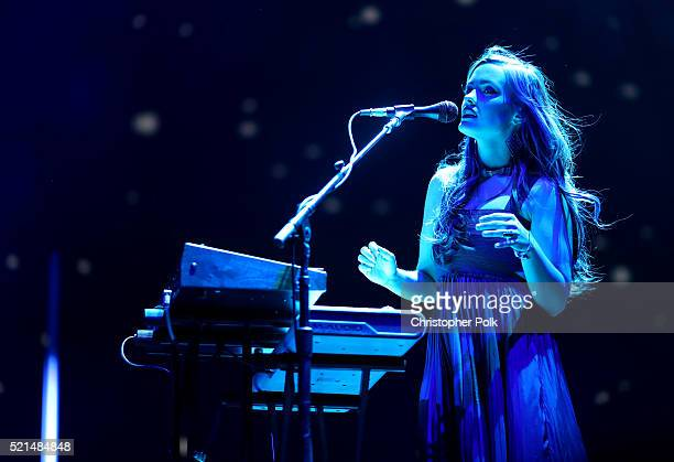 Morgan Kibby of M83 performs onstage on day 1 of the 2016 Coachella Valley Music Arts Festival Weekend 1 at the Empire Polo Club on April 15 2016 in...
