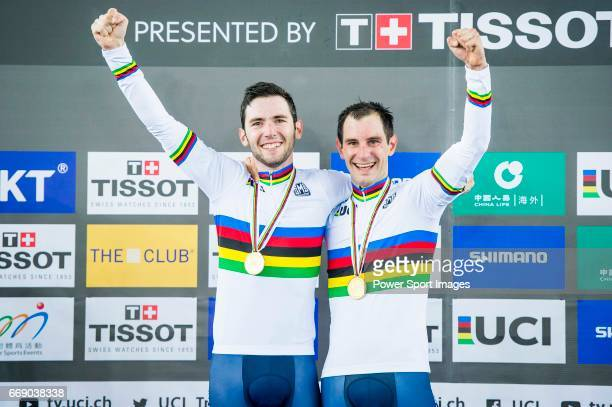 Morgan Kneisky and Benjamin Thomas of France celebrate winning in the Men's Madison 50 km Final's prize ceremony during 2017 UCI World Cycling on...