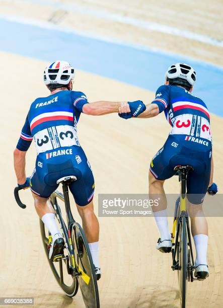 Morgan Kneisky and Benjamin Thomas of France celebrate winning in the Men's Madison 50 km Final during 2017 UCI World Cycling on April 16 2017 in...