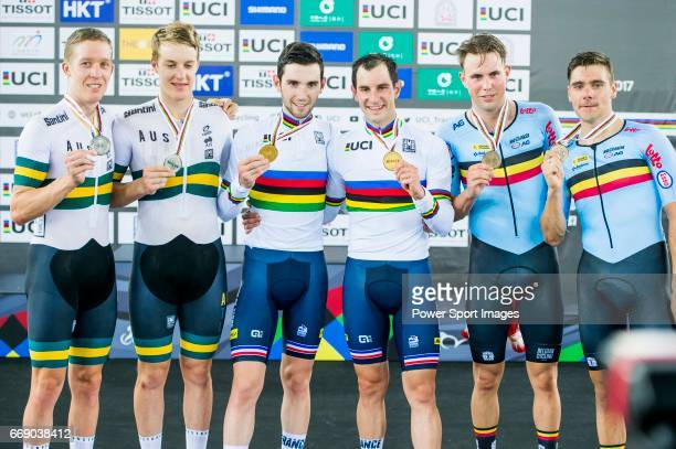 Morgan Kneisky and Benjamin Thomas of France celebrate winning in the Men's Madison 50 km Final's prize ceremony with Cameron Meyer and Callum...