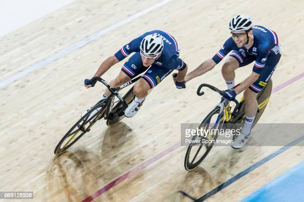 Morgan Kneisky and Benjamin Thomas of France compete in the Men's Madison 50 km Final during 2017 UCI World Cycling on April 16 2017 in Hong Kong...