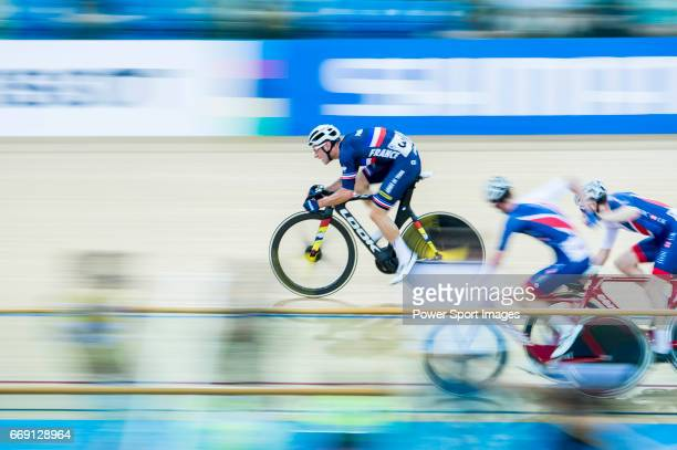 Morgan Kneisky of France competes in the Men's Madison 50 km Final during 2017 UCI World Cycling on April 16 2017 in Hong Kong Hong Kong