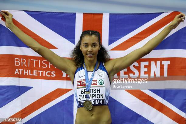 Morgan Lake celebrates after winning the womens high jump during Day Two of the SPAR British Athletics Indoor Championships at Arena Birmingham on...