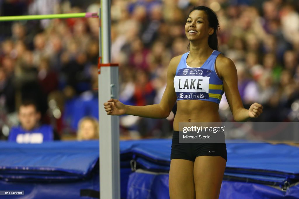 Morgan Lake celebrates setting a personal record in the women's high jump final during day one of the British Athletics European Trials & UK Championship at the English Institute of Sport on February 9, 2013 in Sheffield, England.