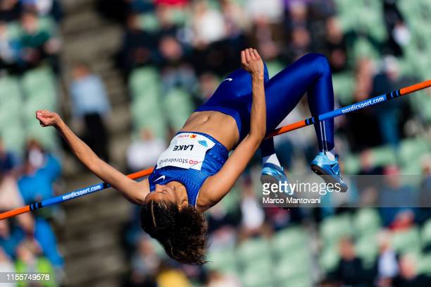 Morgan Lake competes in women's High Jump at Bislett Stadium during a Diamond League event on June 13 2019 in Oslo Norway