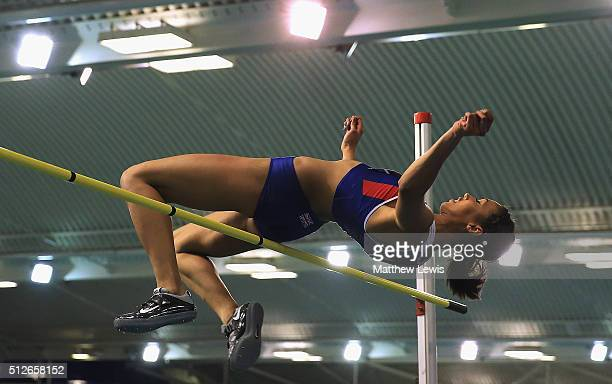 Morgan Lake in actin during the Womens High Jump during day one of the Indoor British Championships at English Institute of Sport on February 27,...