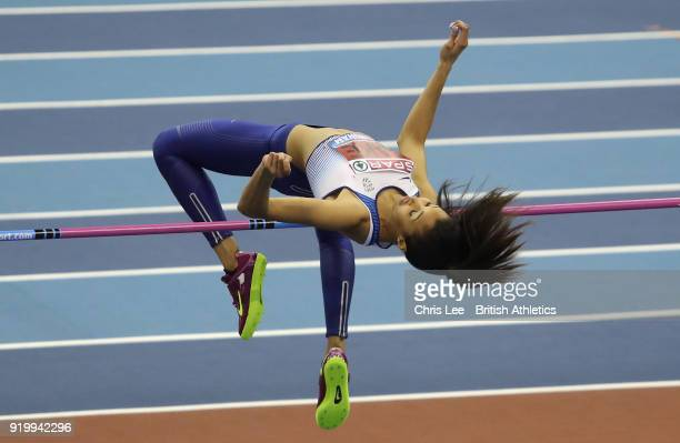 Morgan Lake in action as she wins the Womens High Jump during Day Two of the SPAR British Athletics Indoor Championships at Arena Birmingham on...