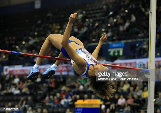 Morgan Lake jumps during the womens high jump during Day Two of the SPAR British Athletics Indoor Championships at Arena Birmingham on February 10...