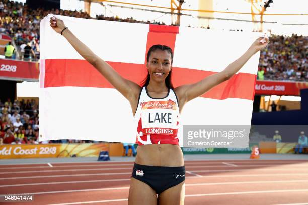 Morgan Lake of England celebrates winning silver in the Women's High Jump final during athletics on day 10 of the Gold Coast 2018 Commonwealth Games...