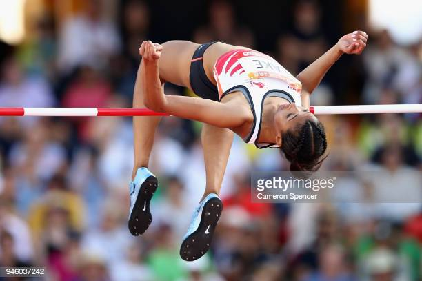 Morgan Lake of England competes in the Women's High Jump final during athletics on day 10 of the Gold Coast 2018 Commonwealth Games at Carrara...
