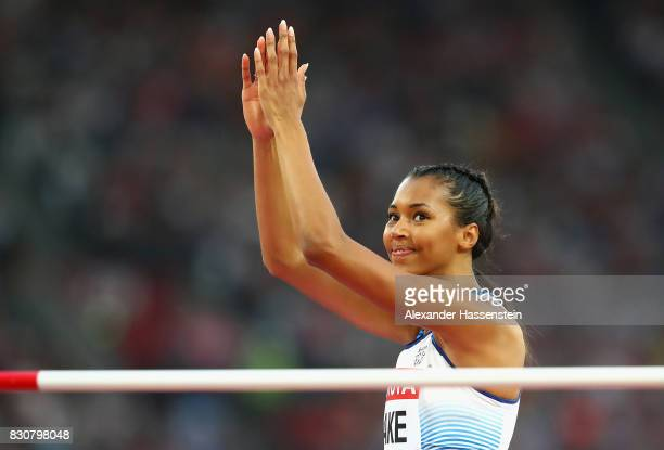Morgan Lake of Great Britain acknowledges the fans during the Women's High Jump final during day nine of the 16th IAAF World Athletics Championships...